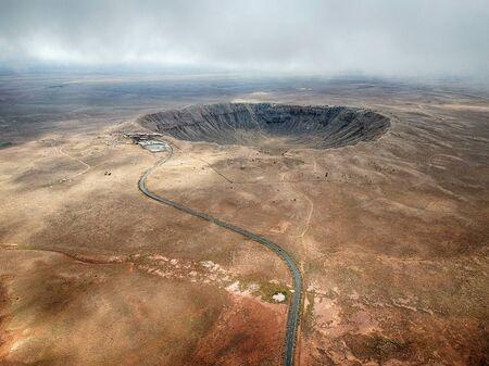 Antena de alto ángulo del cráter del meteorito, Arizona.