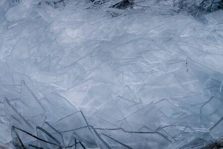Broken ice on lake Balaton in Hungary, Europe 免版税图像