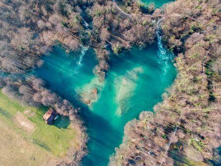 Heart shaped bay on river Una in Bosnia and Herzegovina 免版税图像