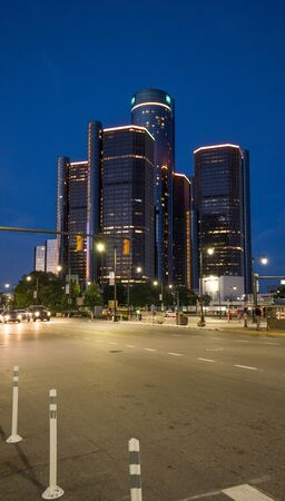 Street view of downtown area of Detroit