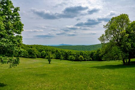 Green hills and cludy sky 免版税图像