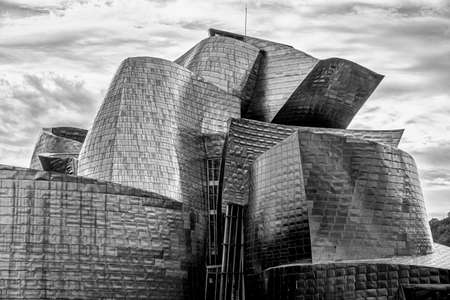 BILBAO, SPAIN - SEPTEMBER 9, 2019: Detailed view of The Guggenheim Museum in Bilbao, Biscay, Basque Country, Spain 新闻类图片