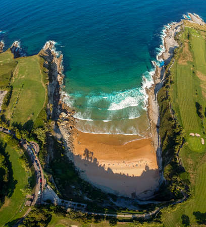 Aerial view of Playa de Matalenas Beach, Santander, Cantabria, Spain 免版税图像