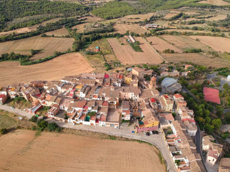 Aerial view of small Spanish village called Baldellou