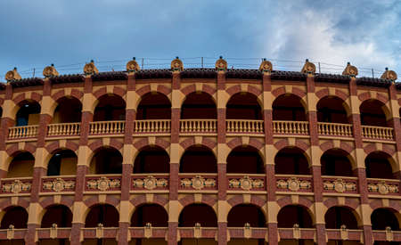 Detail of Plaza de toros or bullring in Zaragoza, Spain.