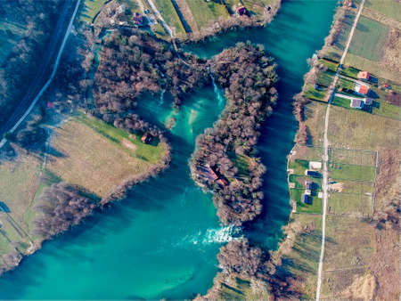 Heart shaped bay on river Una in Bosnia and Herzegovina 免版税图像