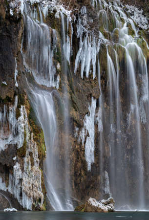 Frozen Waterfalls in Plitvice National Park, Croatia 免版税图像