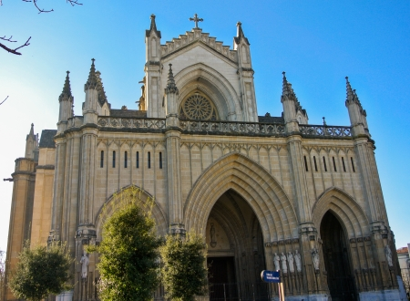 vitoria: Maria Inmaculada Cathedral in Vitoria, Alava, Spain with a sunny day and blue sky Stock Photo