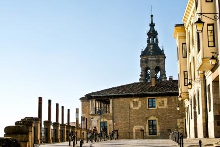 alava: Street of Vitoria, Spain  A sunny day with blue Sky Stock Photo