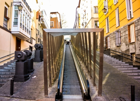 vitoria: Escalators in the old part of Vitoria, Alava, Spain