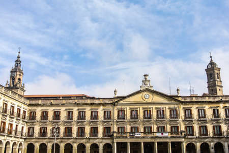 vitoria: The Spanish square and the San Miguel and San Vicente churches in Vitoria  Alava, Spain