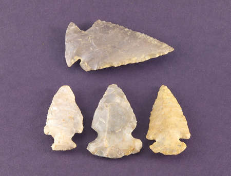 flint: Collection of four arrowheads