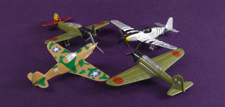 Four model airplanes of world war II
