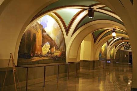 Hallway with marble floor Фото со стока