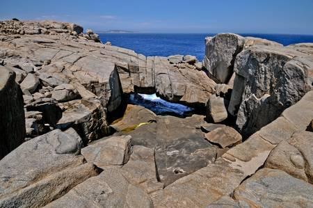 steep: Steep rocks down to the sea Stock Photo