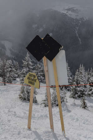 Double black diamond sign at ski resort with snow covered evergreens in the background Archivio Fotografico