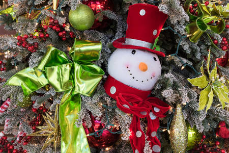 Frosty the Snowman ornament on a Christmas tree