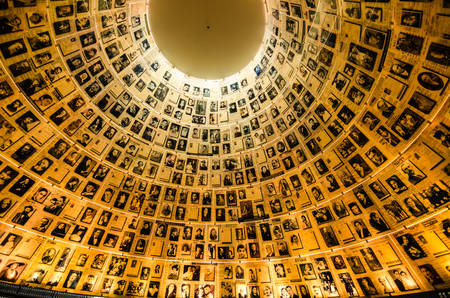 Jerusalem, Israel- July 26, 2015: Names and photos of Holocaust victims in Yad Vashem's Hall of Names