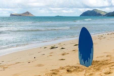 Skim board on Waimanalo Beach on Oahu, Hawaii