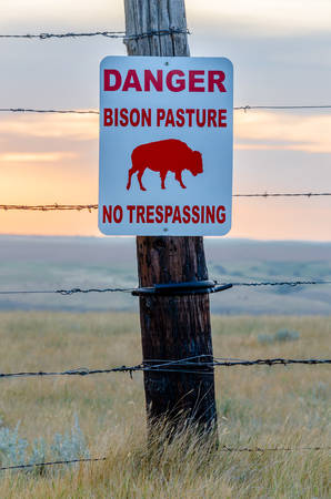 Bison crossing sign on a wooden fencepost in a bison pasture near Swift Current, Saskatchewan Фото со стока