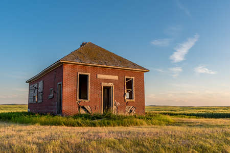 The abandoned Bissell, SK one-room schoolhouse near Simmie, SK established in 1913