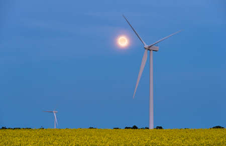 Full moon over a wind turbine in a canola field in bloom