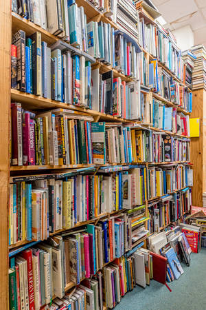 Kailua, HawaiiUSA- Dec. 30, 2019: Piles of used books on wooden shelves for sale in a used bookstore in Kailua, Hawaii