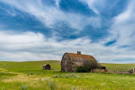 Dramatic sky over an old prairie barn in the Flintoft-Lankenheath area of Saskatchewan
