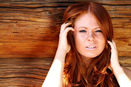18's: red-haired girl Stock Photo