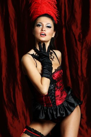 Sexy moulin rouge girl wearing hot lingerie