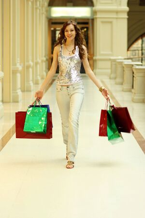 Full length Portrait of a beautiful young lady out shopping with copyspace Stock Photo - 5821477