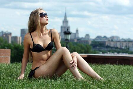 Fashion shot of a beautiful, sexy, blonde woman in bikini  photo