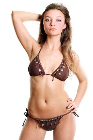 nude little girls: young beautiful woman in underwear