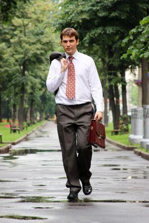 gait: businessman walking on the street Stock Photo