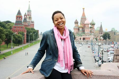 sights of moscow: American girl is photographed in the center of Moscow (Russia)  Stock Photo