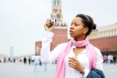 area sexy: American girl is photographed in the center of Moscow (Russia)  Stock Photo