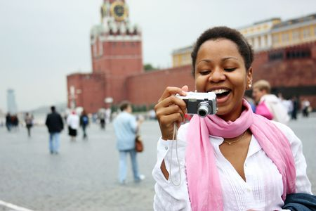 American girl is photographed in the center of Moscow (Russia) Stock Photo - 5858430