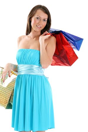 portrait of one happy young adult girl with colored bags  photo