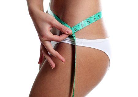 Woman measuring perfect shape of beautiful thigh Stock Photo - 5929001