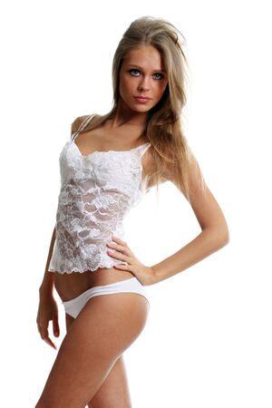 undressed young: young beautiful woman in underwear