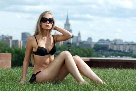 Fashion shot of a beautiful, sexy, blonde woman in bikini