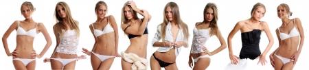 ropa interior femenina: Modelo de ropa interior hermosos posando sobre un fondo blanco