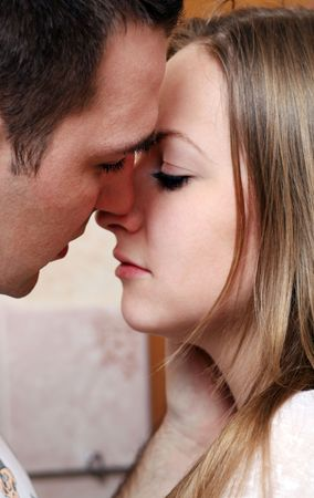 blonde close up: Close up of young couple in love