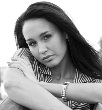 Closeup portrait of beautiful woman photo