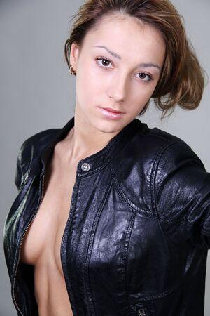 beautiful make-up, brunette young woman photo