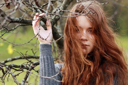 Closeup portrait of young woman photo