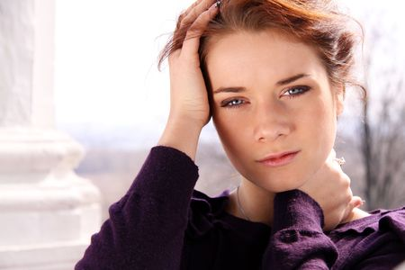 Closeup portrait of a beautiful young woman Stock Photo