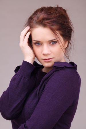 Portrait of young sad woman photo
