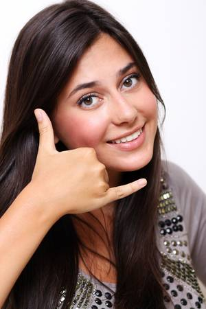 picture of lovely woman making a call me gesture Stock Photo - 6750625
