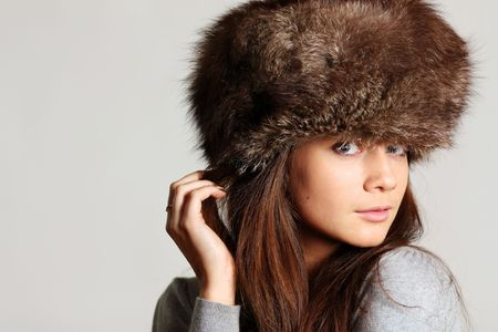 woman in a furry hat  photo